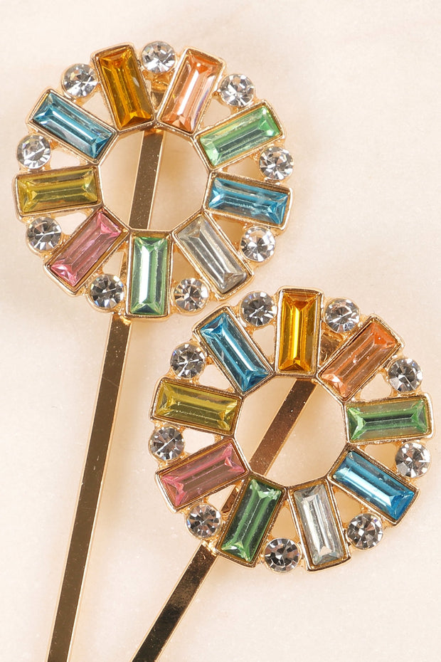 Two Piece Baguette Stones Round Hair Pin