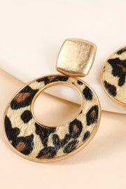 Leopard Faux Calf Hair Round Drop Earrings
