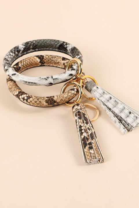 Animal Print PU Leather Tassel Key Ring