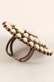 Western Inspired Natural Stones Adjustable Ring