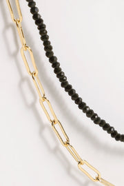 Glass Beads Chain Linked Layered Necklace