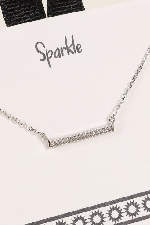 Pave CZ Bar Pendant Necklace
