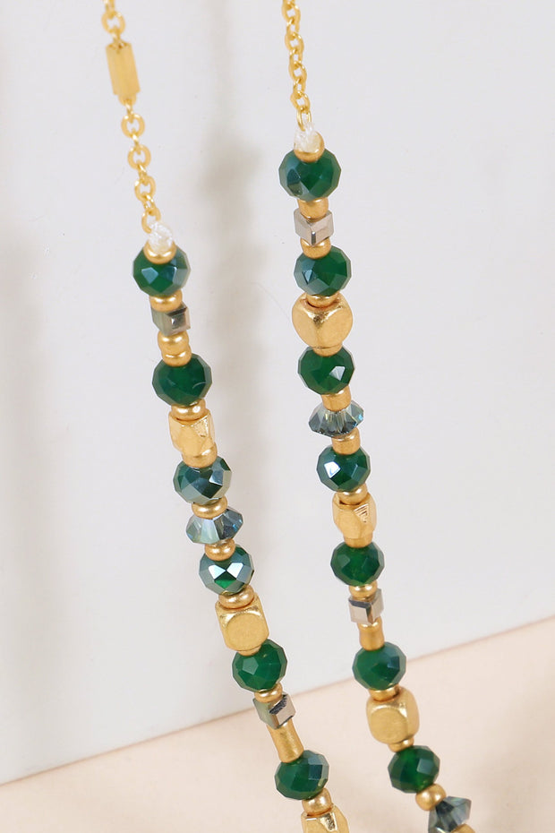Glass Beads Layered Long Necklace