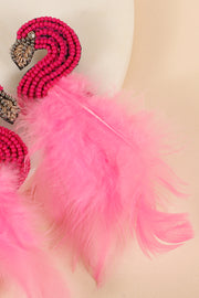 Flamingo Seed Beads Feather Earrings