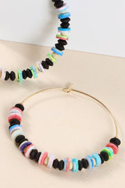 Rubber Beads Wood Metal Hoop Earrings