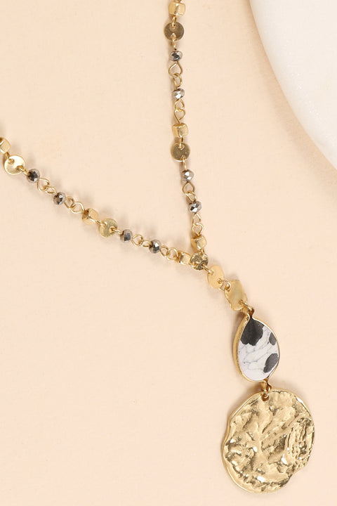 Natural Stone Charm Glass Beads Long Necklace