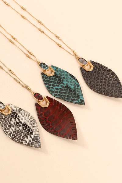 Snake Skin Embossed Pendant Long Necklace