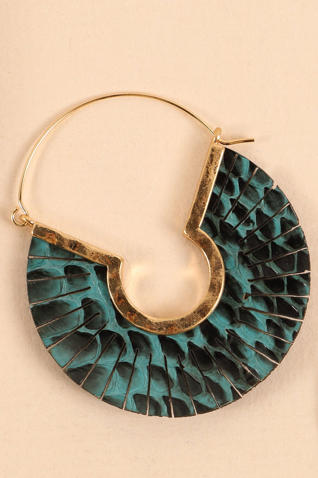 Snake Skin Embossed PU Leather Hoop Earrings