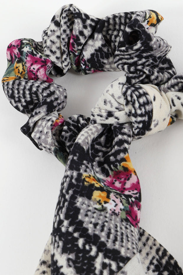 Snake Floral Print Ponytail Scrunchies