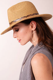 Snake Print Strap Gold Clasp Straw Panama Hat