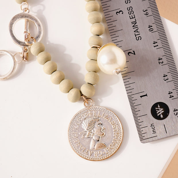 Coin Pearl Charms Wood Beaded Necklace 1