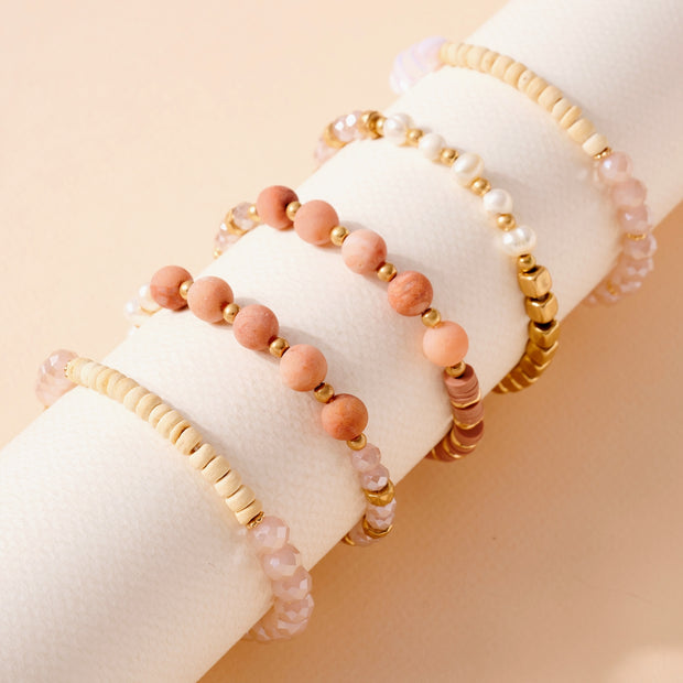 Stones Pearls Glass Wood Beads Bracelet Set