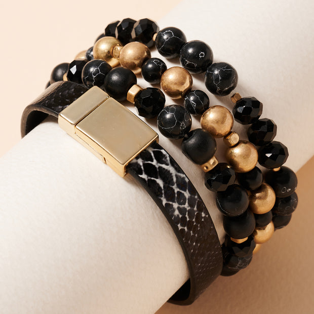 Stone Beads Snake PU Leather Bracelet Set