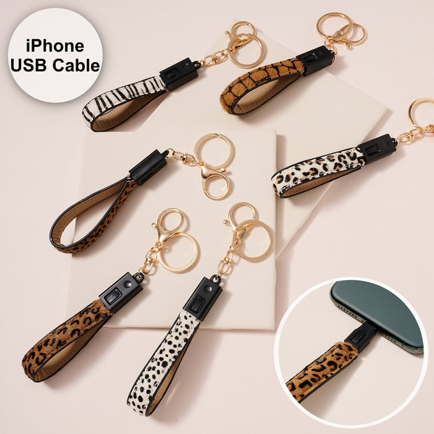 Animal Print Calf Hair iPhone Charger Key Chain