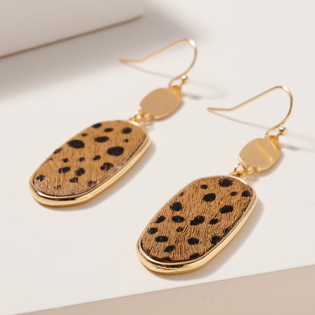 Oval Animal Print Dangling Earrings