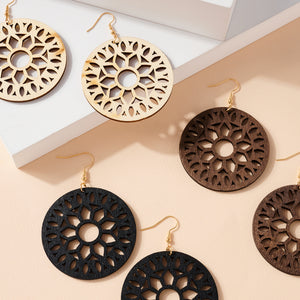 Round Cut Out Wooden Earrings