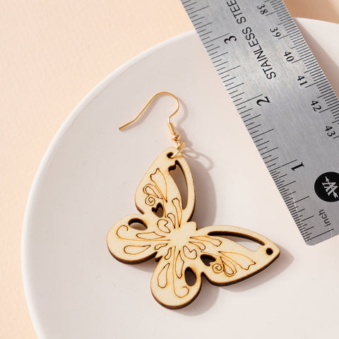Butterfly Cut Out Wooden Earrings