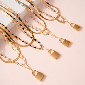 Lock Charm Glass Beads Layered Necklace