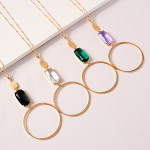 Glass Stone Charm Long Necklace