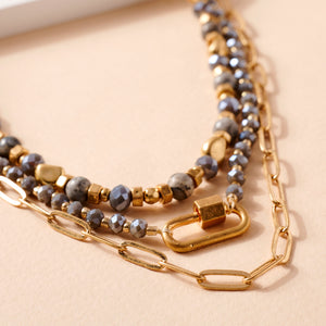 Glass Stone Beaded Chain Linked Necklace
