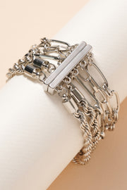 Layered Metal Chain Linked Bracelet