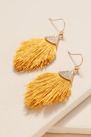 Rhinestone Set Tassel Dangling Earrings