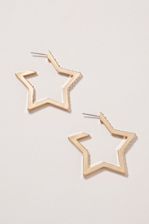 Stars Rhinestones Open Hoop Earrings