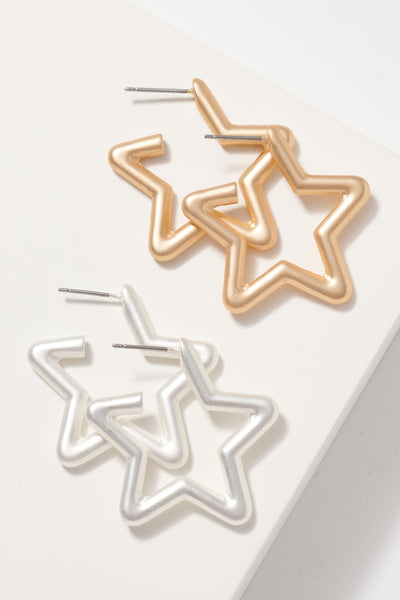Star Open Hoop Earrings