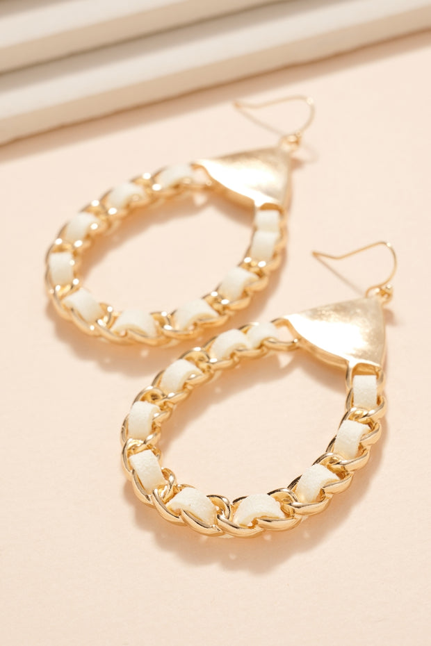 Chain Linked Leather Strap Tear Drop Earrings