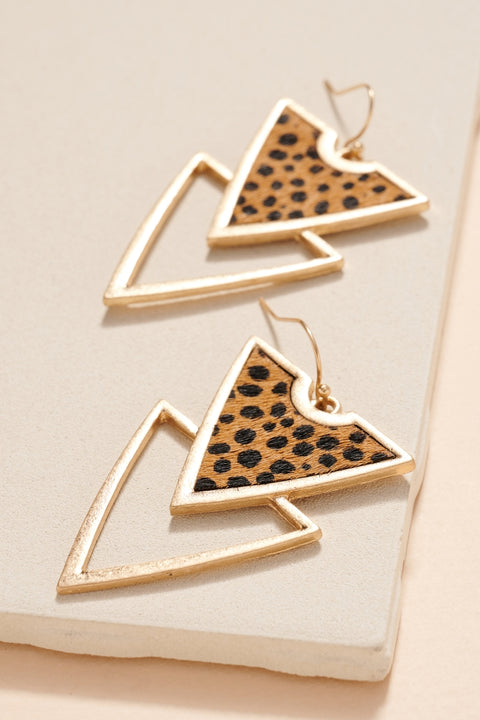 Animal Print Double Triangle Earrings