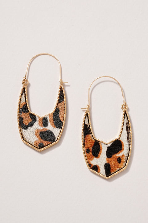 Geometric Animal Calf Hair Hoop Earrings
