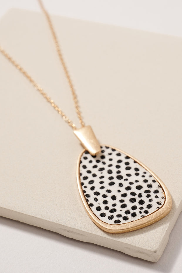 Animal Print Geometric Pendant Long Necklace