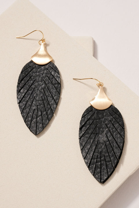 Leaf Double Layered Dangling Earrings