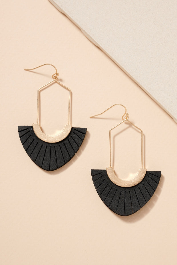 Leather Tassels Wire Metal Dangling Earrings