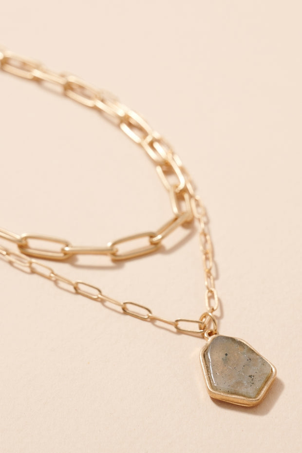 Stone Pendant Chain Linked Layered Necklace