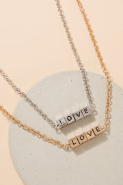 LOVE Letter Engraved Short Necklace