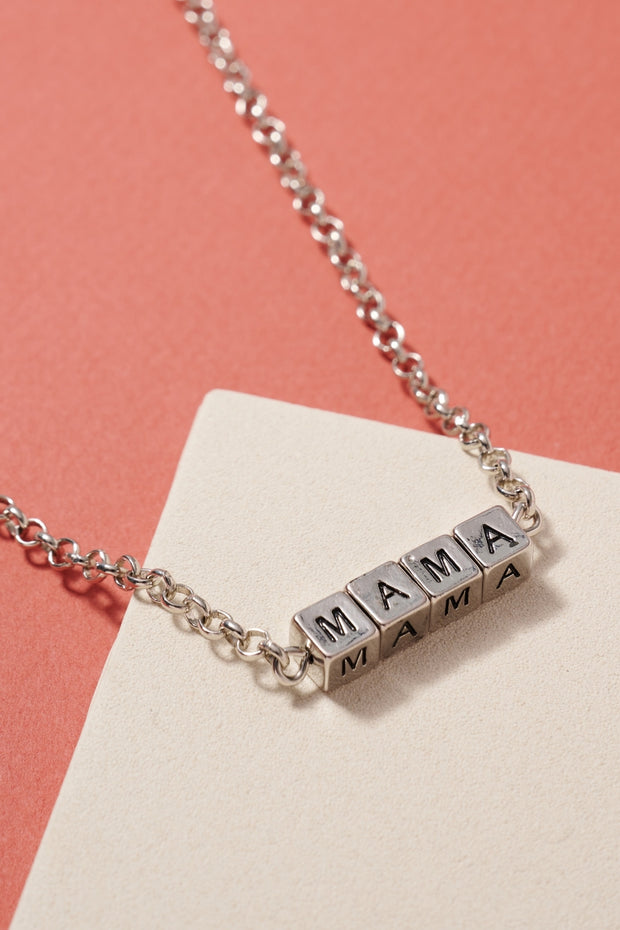 MAMA Letter Engraved Short Necklace