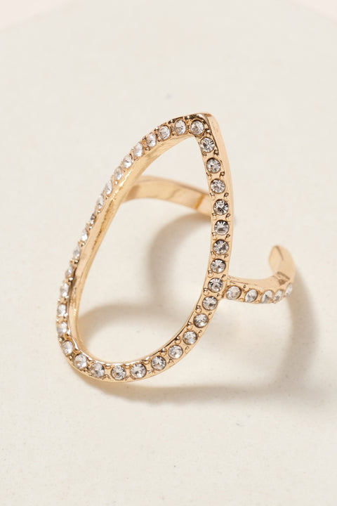 Tear Drop Paved Rhinestones Open Ring