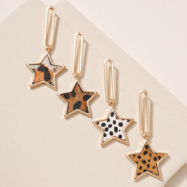 Animal Calf Hair Star Chain Linked Earrings