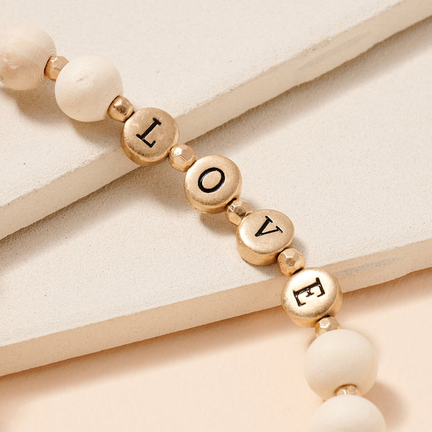 LOVE Inspirational 10 MM Wood Beaded Key Chain