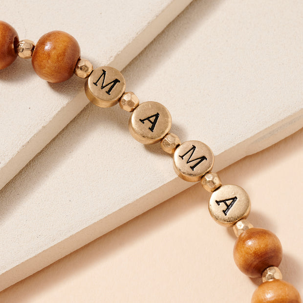 MAMA Inspirational 10 MM Wood Beaded Key Chain