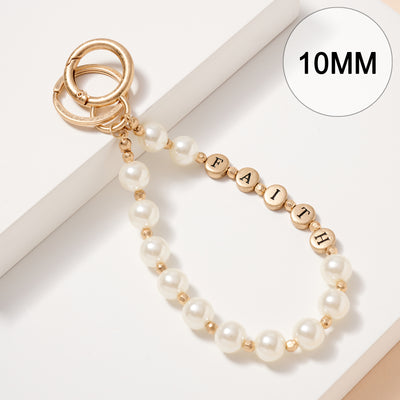 Inspirational 10 MM Pearl Beaded Key Chain