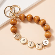 FAITH Inspirational 15 MM Wood Beaded Key Chain