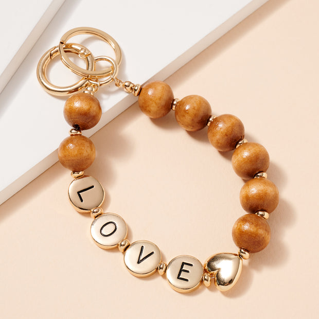 LOVE Inspirational 15 MM Wood Beaded Key Chain
