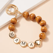 MAMA Inspirational 15 MM Wood Beaded Key Chain