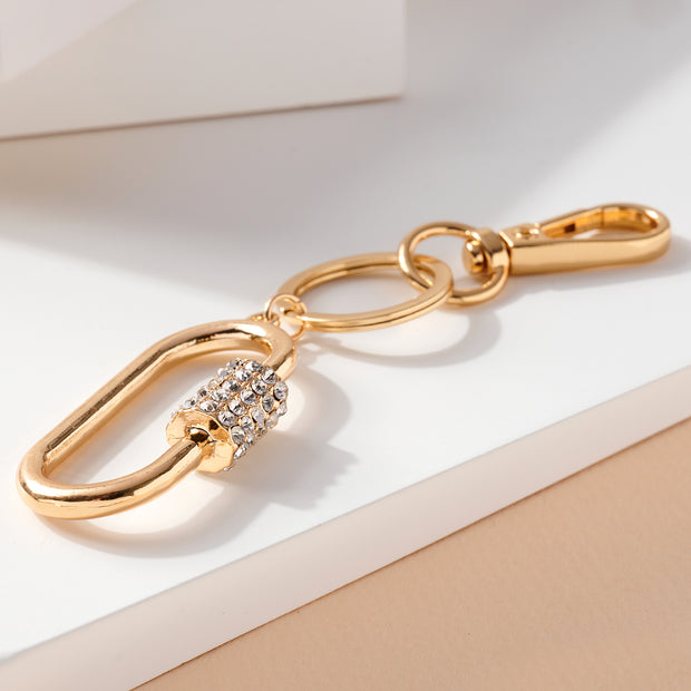 Screw Lock Oval Metal Key Chain