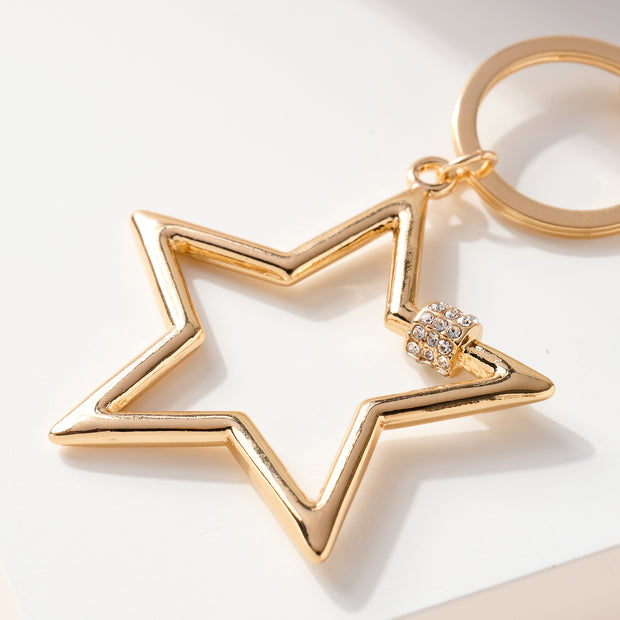 Screw Lock Star Metal Key Chain