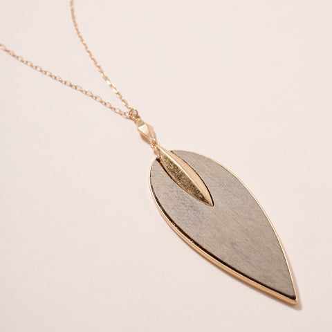 Wooden Leaf Pendant Long Necklace