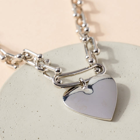 Heart Charm Chain Linked Necklace