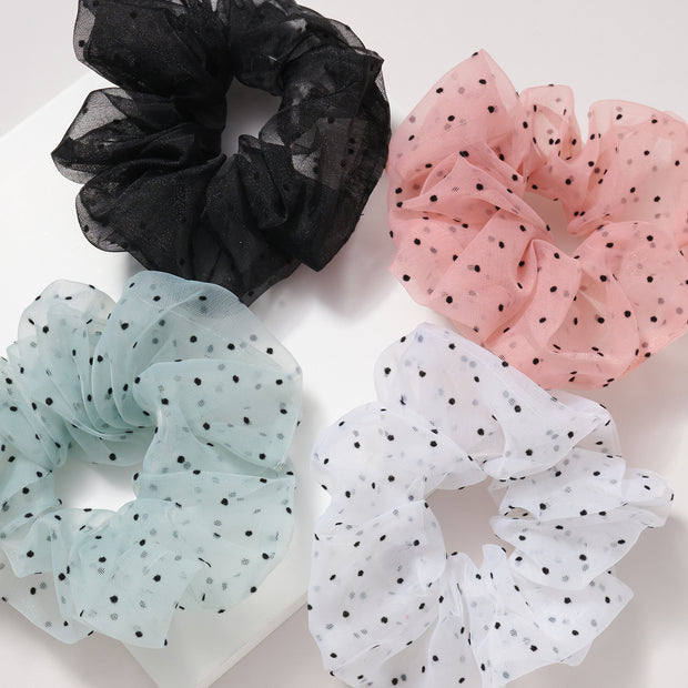 Polka Dot Organza Hair Scrunchies